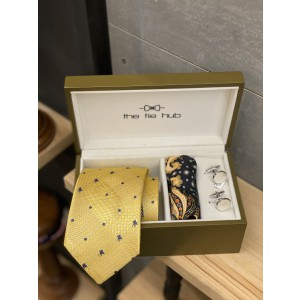 Yellow Derby Horse 100% Silk Diffrent Tail Necktie Combo