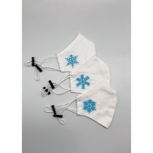 Christmas Collection Embroidered 3 Mask set - Snow Flakes