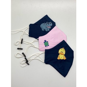 Set of 3 Embroidered 100% Cotton Face masks - Hippo/Duck/Turtle