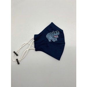 Hippo Blue Embroidered Mask