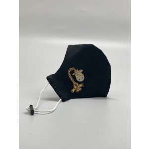 Giraffe Black Embroidered Mask