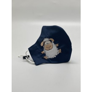 Sheep Navy Embroidered Mask