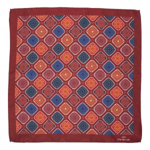 Block maroon 100% Silk Pocket square