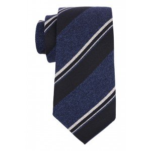 Honor Navy, Black and White Stripe  50% Silk 50% Wool Necktie