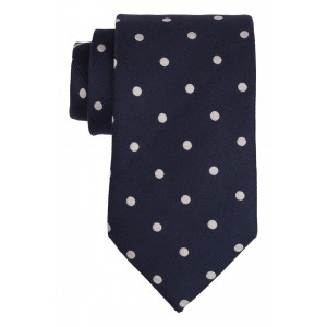 Jackson Navy with White Polka 100% Silk Necktie