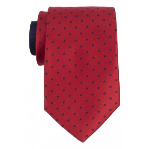 Smooth Red with Navy Polka 100% Silk Necktie