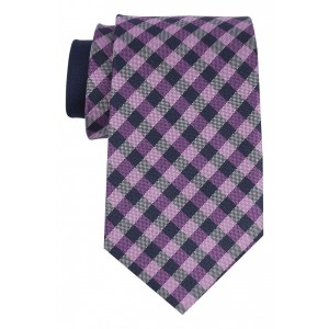 Dawson Purple and Navy Plaid 100%  Silk Necktie