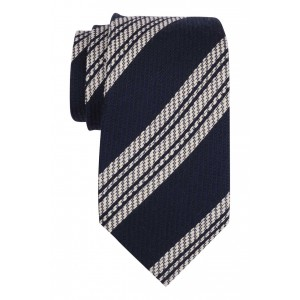Navy and White Textured Stripe 50% Silk 50% Wool Necktie