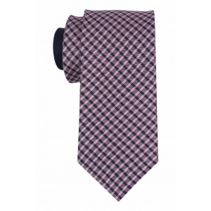 Self Pink and Navy Checkered 100% Silk Necktie