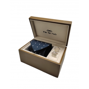 Navy Blue Polka Necktie with Cufflink Gift Set