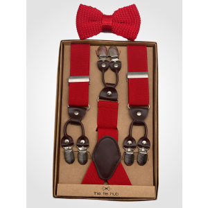 Booster Red Y Back Suspender with Red Knitted Bow Tie Combo Set