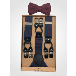 Tic Tac Toe - Blue/Maroon Suspender with Maroon Knitted Bow Tie Combo Set