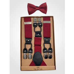 Pin Dot Maroon Y Back Suspender with Maroon Silk Bow Tie Combo Set