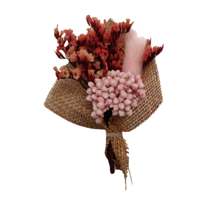 Babys Breath Red Flower with Pink Feather Wedding Boutonniere