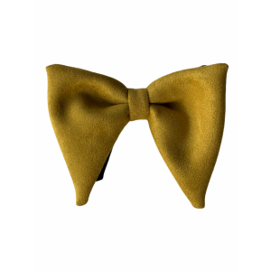 Yellow Solid Suede Butterfly Bow Tie