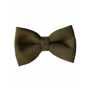 Solid Olive Green Suede Bow Tie