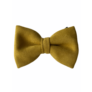 Solid Yellow Suede Bow Tie