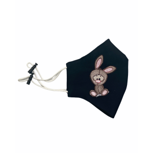 Bunny Black Embroidered Mask