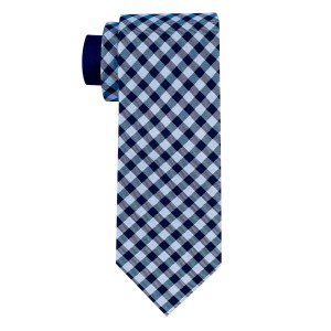 Dawson Checkerd Blue 100% Silk Necktie