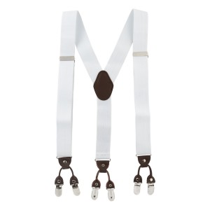 Booster Solid White Y Back Suspender