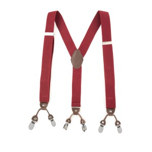 Booster Solid Maroon Y Back Suspender