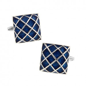 Blue Net Square Cufflinks