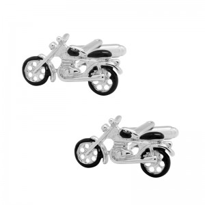 Bike Silver and black brass Cufflink