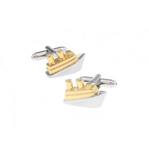 Ship Gold and Silver Brass Cufflink