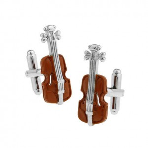 Brown Violin Cufflink