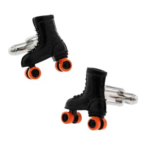 Black & Orange roller skate Shoes Cufflink