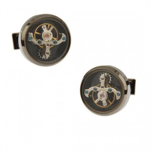 Vintage Gunmetal Tourbillon Timepiece Watch Movement Cufflinks