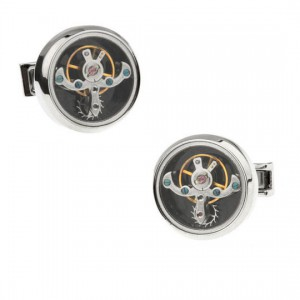Vintage Silver Tourbillon Timepiece Watch Movement Cufflinks