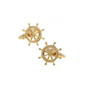 Ships Wheel Gold Cufflinks