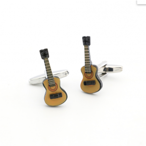 Yellow Guitar Cufflinks