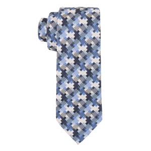 Graphic Blue Microfiber Necktie