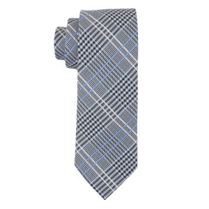 Checkerd Blue Microfiber Necktie