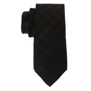 Black With Self checkered Microfiber Necktie