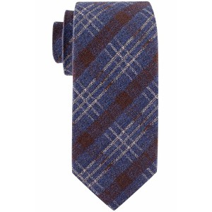 Newton Blue and Brown Plaid  7 Fold Silk Necktie by The Tie Hub
