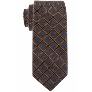 Legacy Grey and Orange Plaid 7 Fold Silk Necktie by The Tie Hub