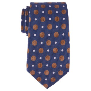 Silk 7 Fold Necktie Blue With Golden And White Dots By The Tie Hub