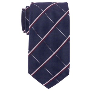Navy Blue Plaid Silk 7 Fold Silk Necktie By The Tie Hub