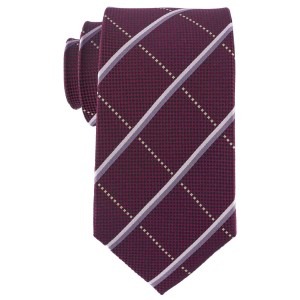 Maroon Plaid 7 Fold Silk Necktie By The Tie Hub