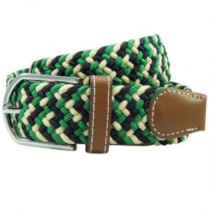 Wave Braid Green Elasticated Belt
