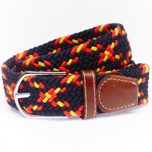 Solid Braid Navy/White/Red Elasticated Belt