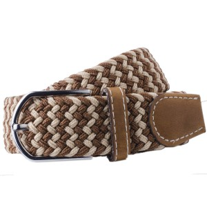 Wave - Brown/Beige Elasticated Woven Belt