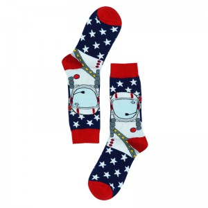 Space Boy Red and Blue Printed Bright Socks