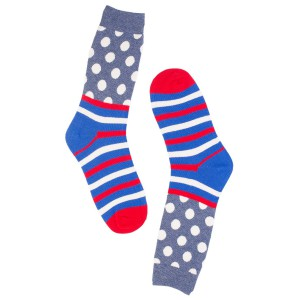 Polka Stripe White and Blue Cotton Rich Socks
