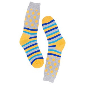 Polka Stripe Grey and Chrome Cotton Rich Socks