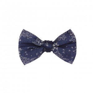 Spring Flower Navy Blue 100 % cotton Denim Bow Tie