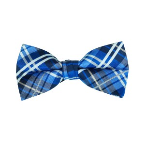 Briggs Blue Checkered Microfiber Bow Tie